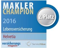Helvetia Deutschland ist Makler-Champion 2016: In den Kategorien Lebens- und Schadenversicherung erreicht Helvetia Top-Platzierungen. (Grafik: Helvetia Deutschland)
