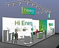 Mit einem komplett neuen Auftritt präsentiert AKASOL die neeo-Markenwelt auf der EES im Rahmen der Intersolar. Illustration: AKASOL
