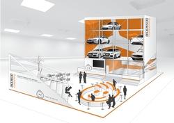 Klaus Multiparking präsentiert an seinem Stand in Halle C3 das vollautomatische Parksystem MasterVario. Foto: Klaus Multiparking