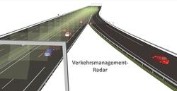 Das Radar zur Verkehrsüberwachung liefert Informationen zum Beispiel über die Auslastung von Fahrspuren, Baustellen- und Unfallsituationen. (Bildquelle: Kymati)