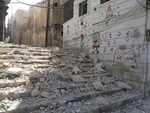 A school damaged by bombing in Aleppo governorate, northwest Syria